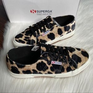 New Superga 2750 Velvet Leopard Sneakers 39.5 8.5